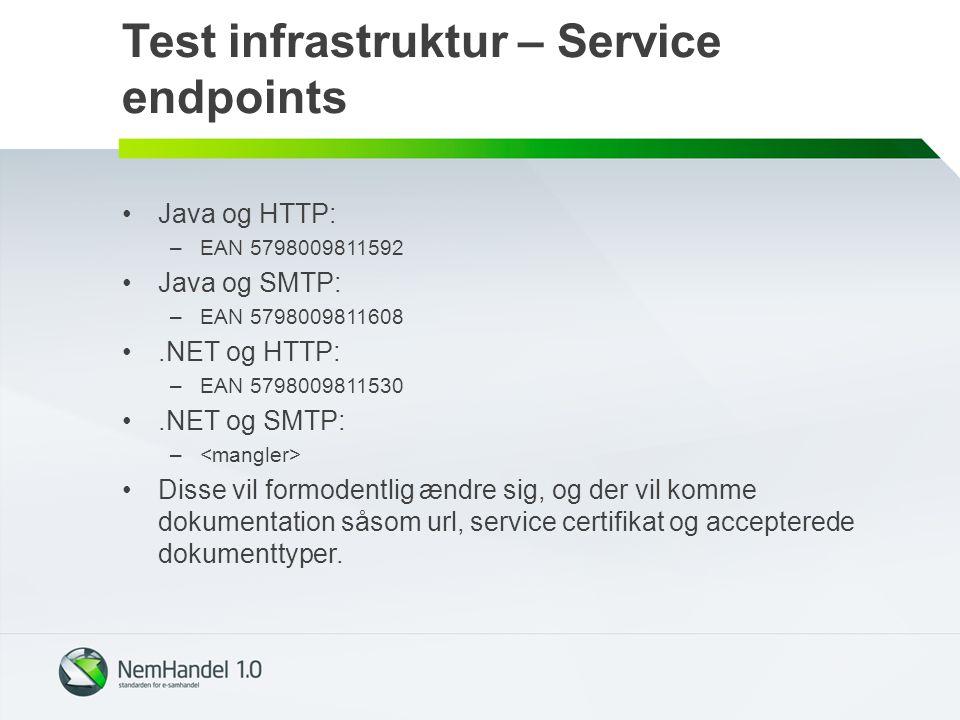 Test infrastruktur – Service endpoints