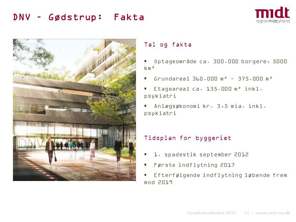 DNV – Gødstrup: Fakta Tal og fakta Tidsplan for byggeriet