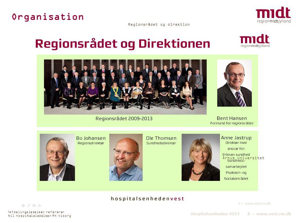 Organisation Hospitals- ledelsen Regionsrådet og direktion