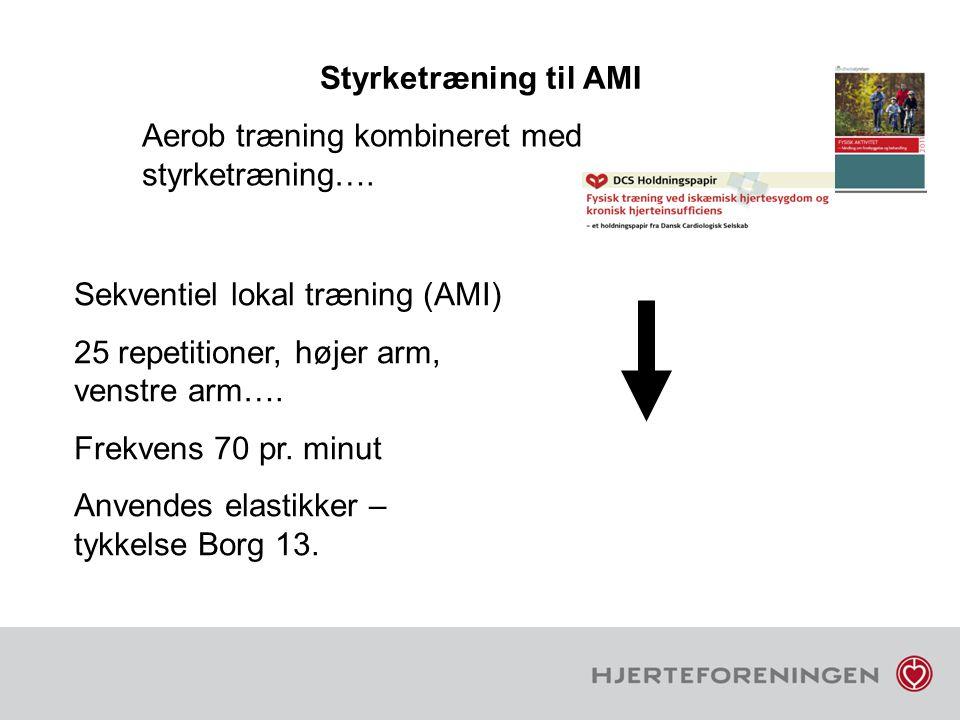 Styrketræning til AMI Aerob træning kombineret med styrketræning…. Sekventiel lokal træning (AMI) 25 repetitioner, højer arm, venstre arm….