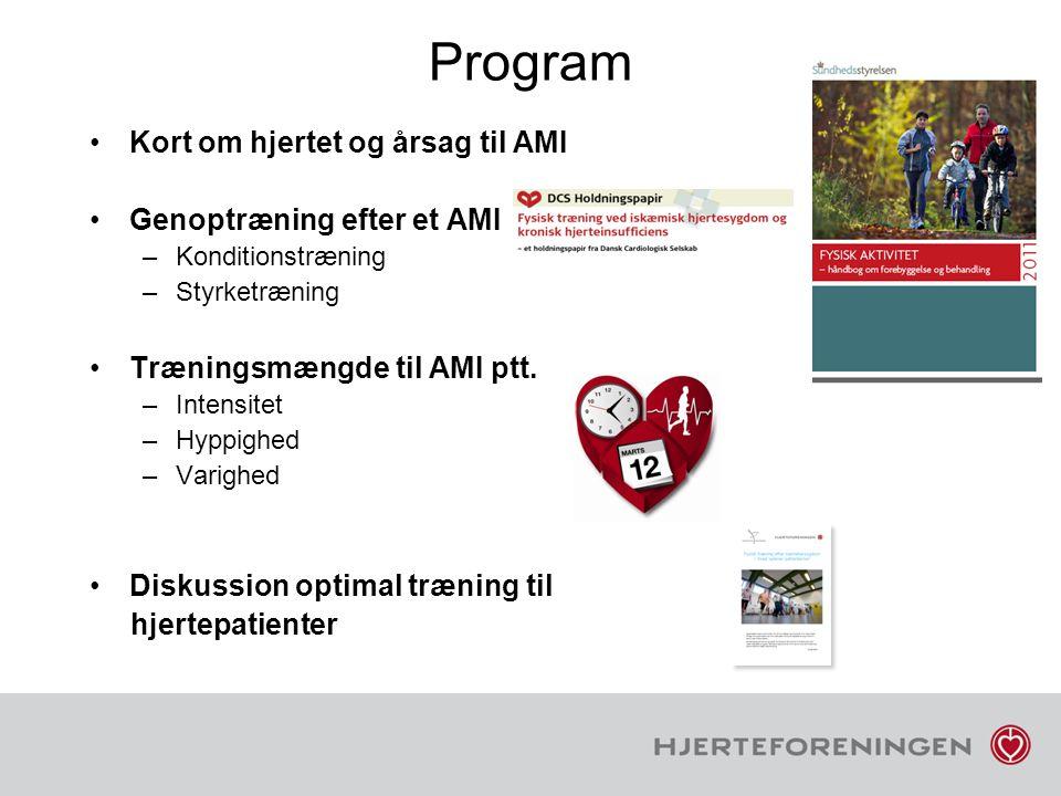 Program Kort om hjertet og årsag til AMI Genoptræning efter et AMI