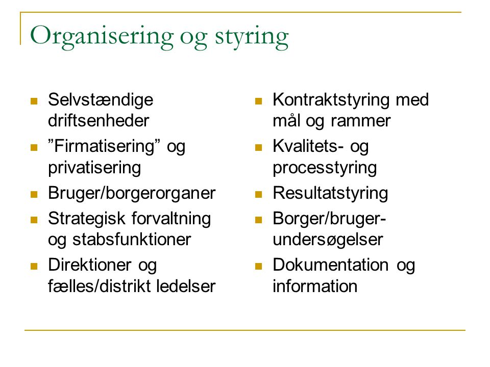 Organisering og styring