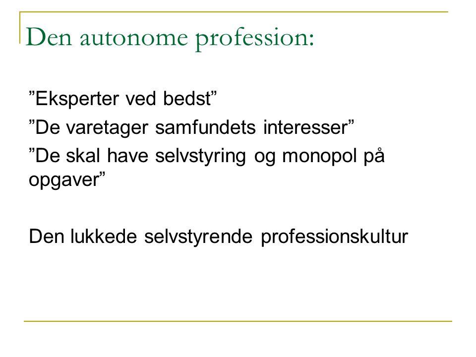 Den autonome profession: