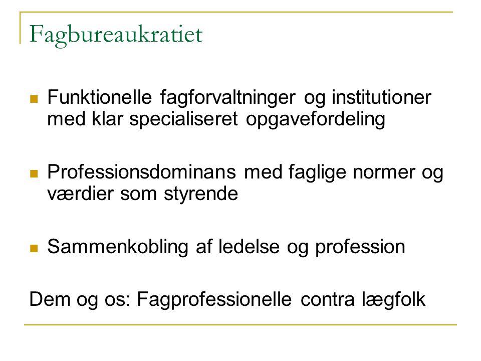 Fagbureaukratiet Funktionelle fagforvaltninger og institutioner med klar specialiseret opgavefordeling.