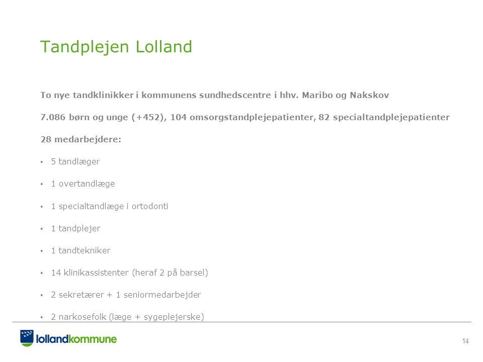 Tandplejen Lolland To nye tandklinikker i kommunens sundhedscentre i hhv. Maribo og Nakskov.