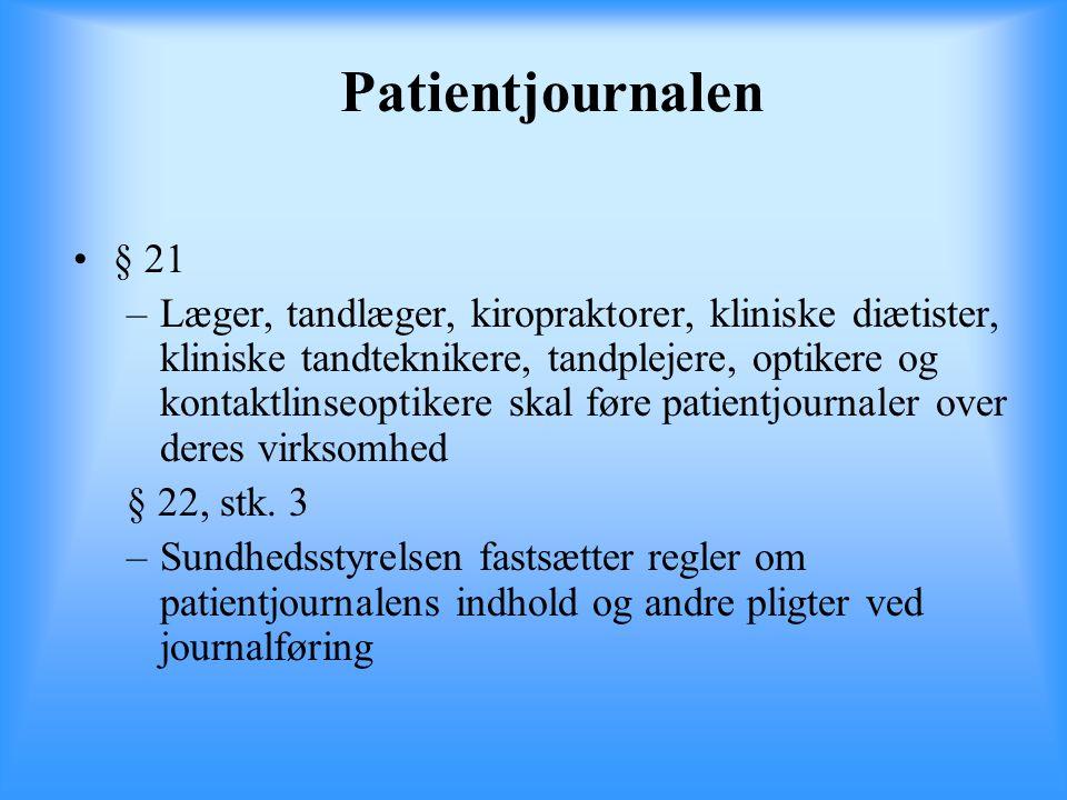 Patientjournalen § 21.