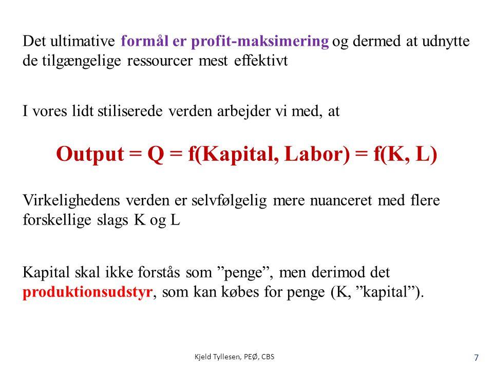 Output = Q = f(Kapital, Labor) = f(K, L)