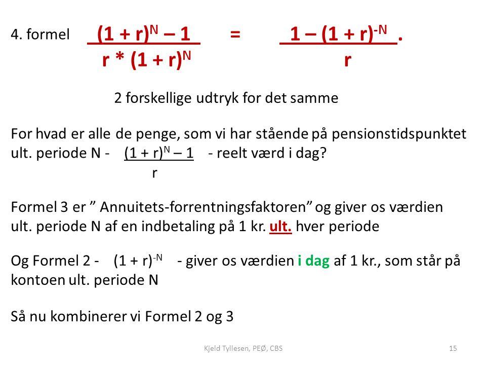 (1 + r)N – 1 = 1 – (1 + r)-N . r * (1 + r)N r 4. formel