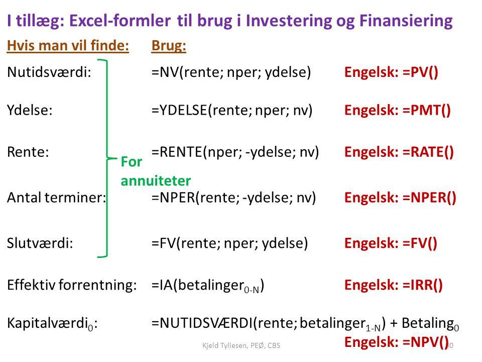 I tillæg: Excel-formler til brug i Investering og Finansiering