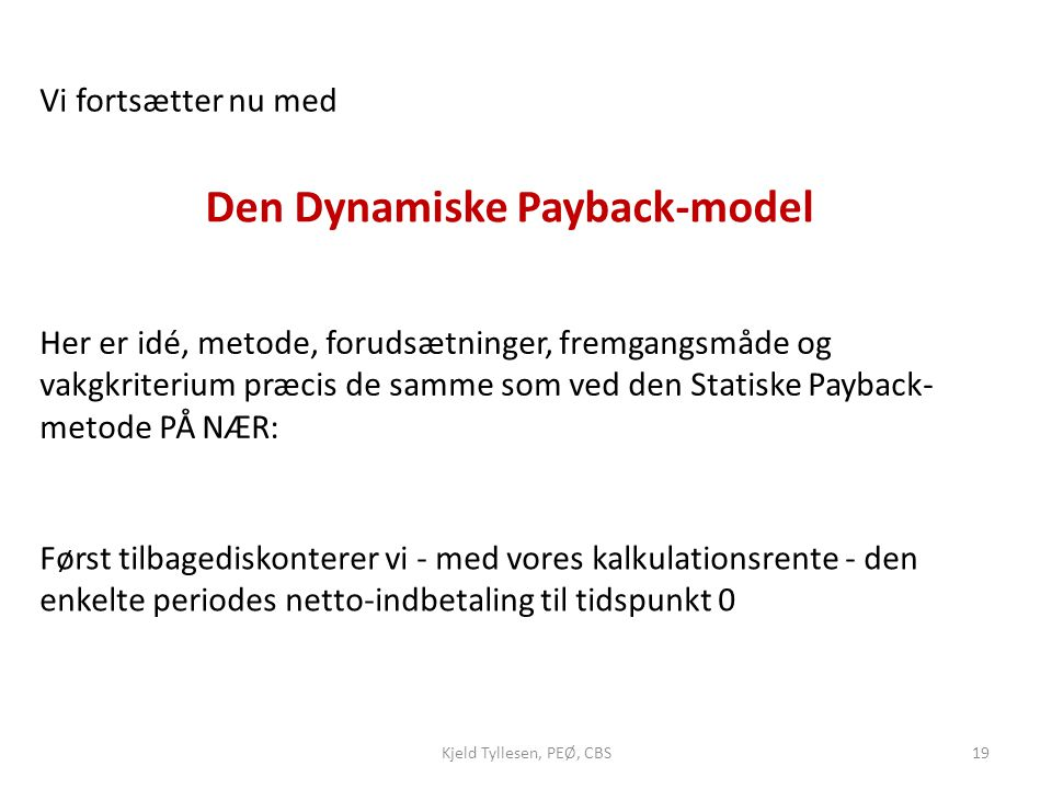 Den Dynamiske Payback-model