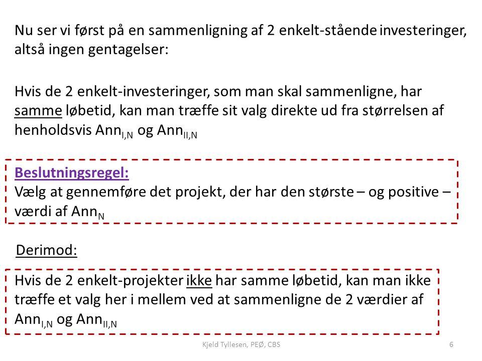 Nu ser vi først på en sammenligning af 2 enkelt-stående investeringer, altså ingen gentagelser: