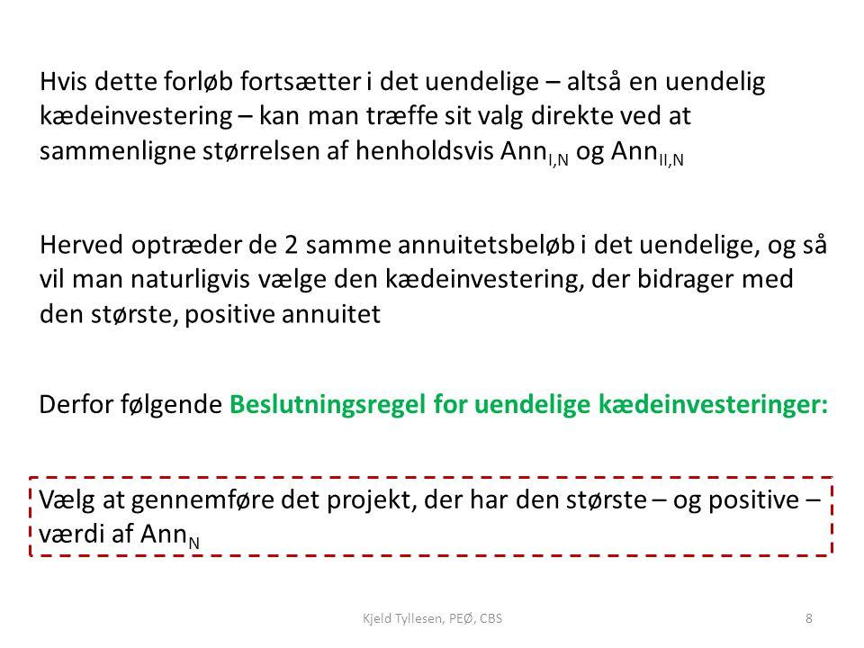 Derfor følgende Beslutningsregel for uendelige kædeinvesteringer: