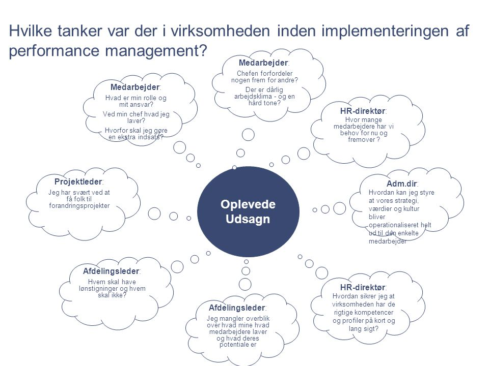 Hvilke tanker var der i virksomheden inden implementeringen af performance management