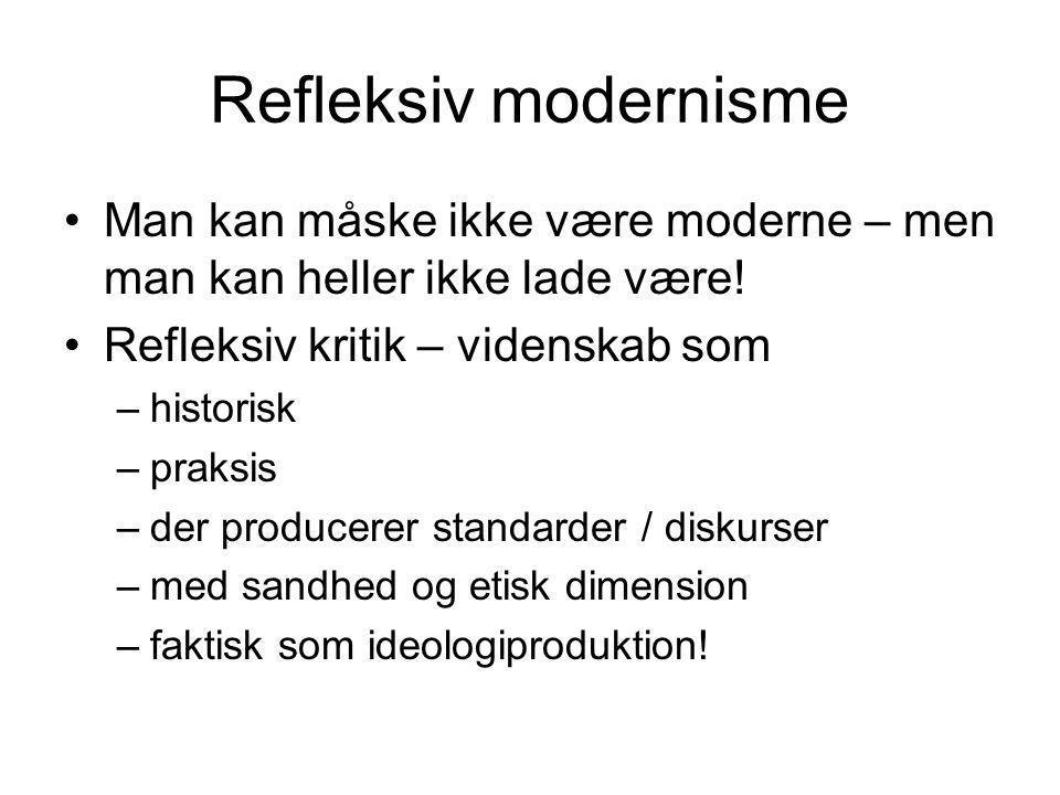 Refleksiv modernisme Man kan måske ikke være moderne – men man kan heller ikke lade være! Refleksiv kritik – videnskab som.