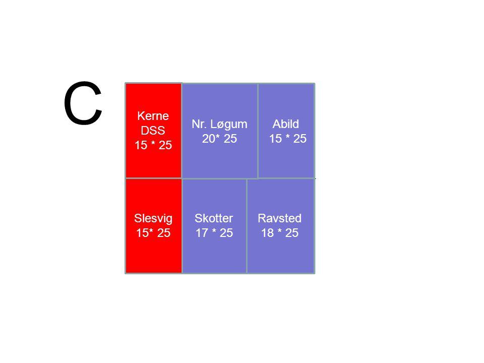 C Kerne DSS 15 * 25 Nr. Løgum 20* 25 Abild 15 * 25 Slesvig 15* 25