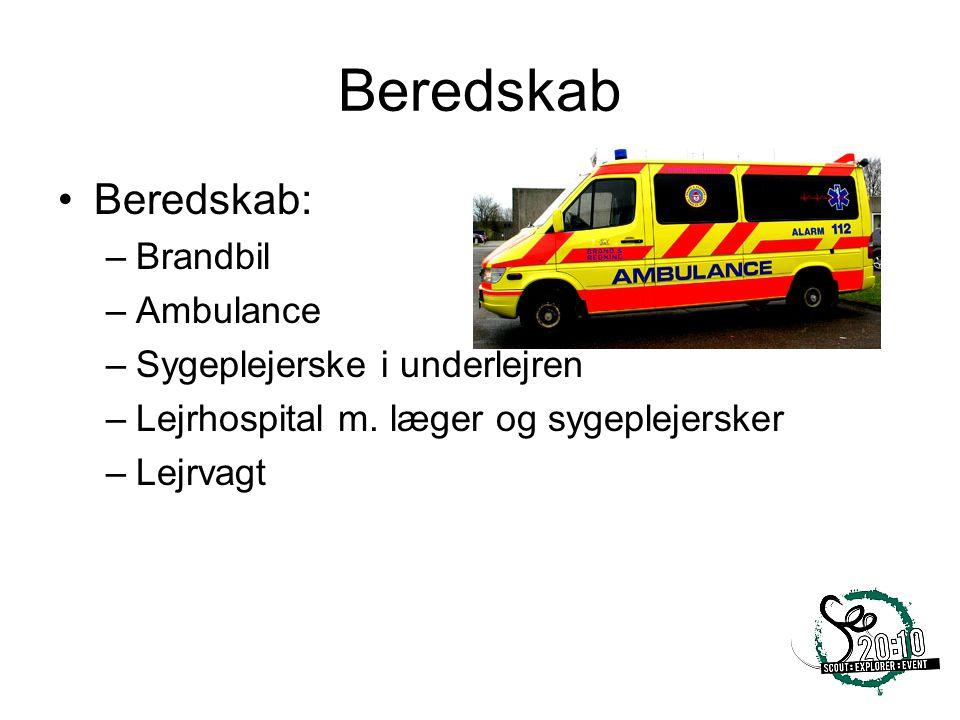 Beredskab Beredskab: Brandbil Ambulance Sygeplejerske i underlejren