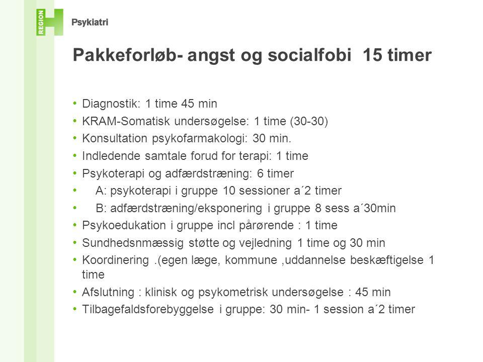 Pakkeforløb- angst og socialfobi 15 timer