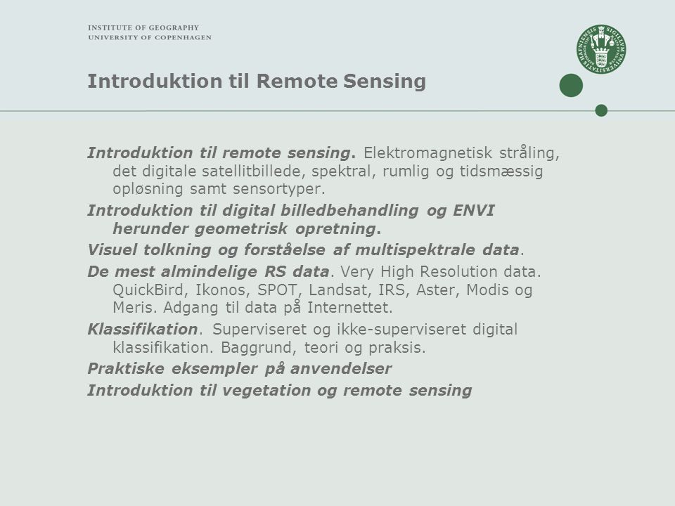 Introduktion til Remote Sensing