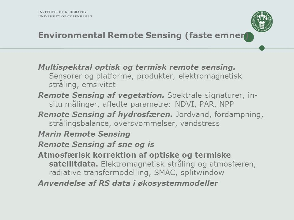 Environmental Remote Sensing (faste emner)