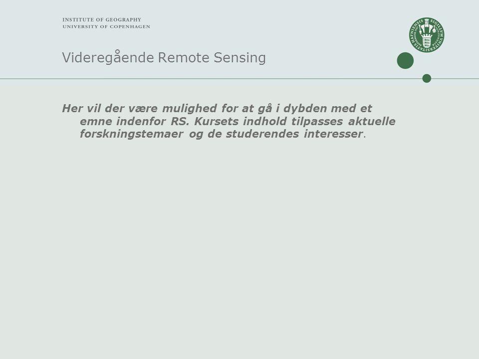 Videregående Remote Sensing