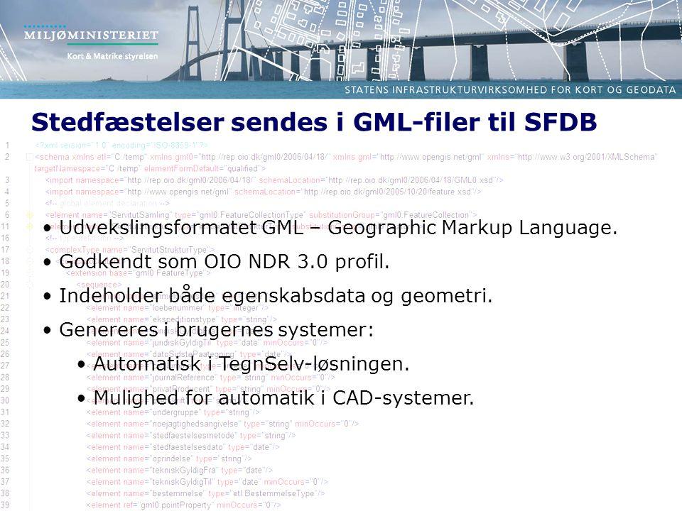 Stedfæstelser sendes i GML-filer til SFDB
