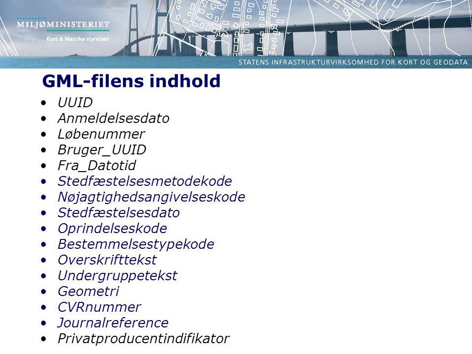 GML-filens indhold UUID Anmeldelsesdato Løbenummer Bruger_UUID