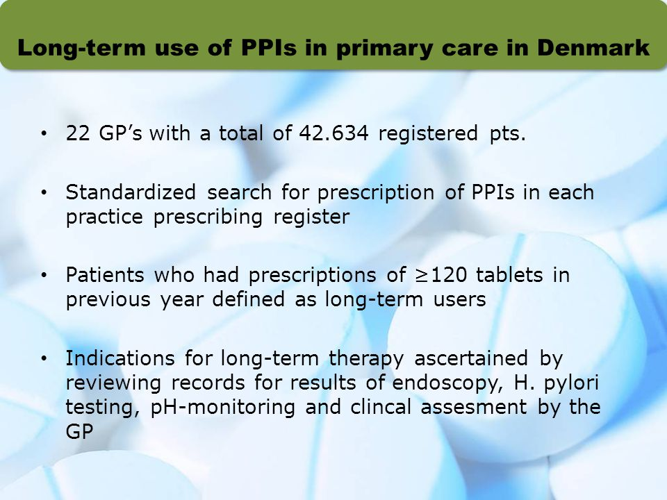 Long-term use of PPIs in primary care in Denmark