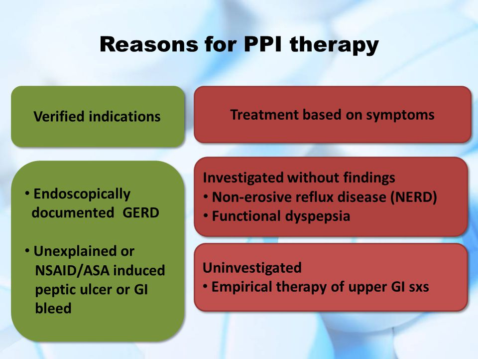 Reasons for PPI therapy