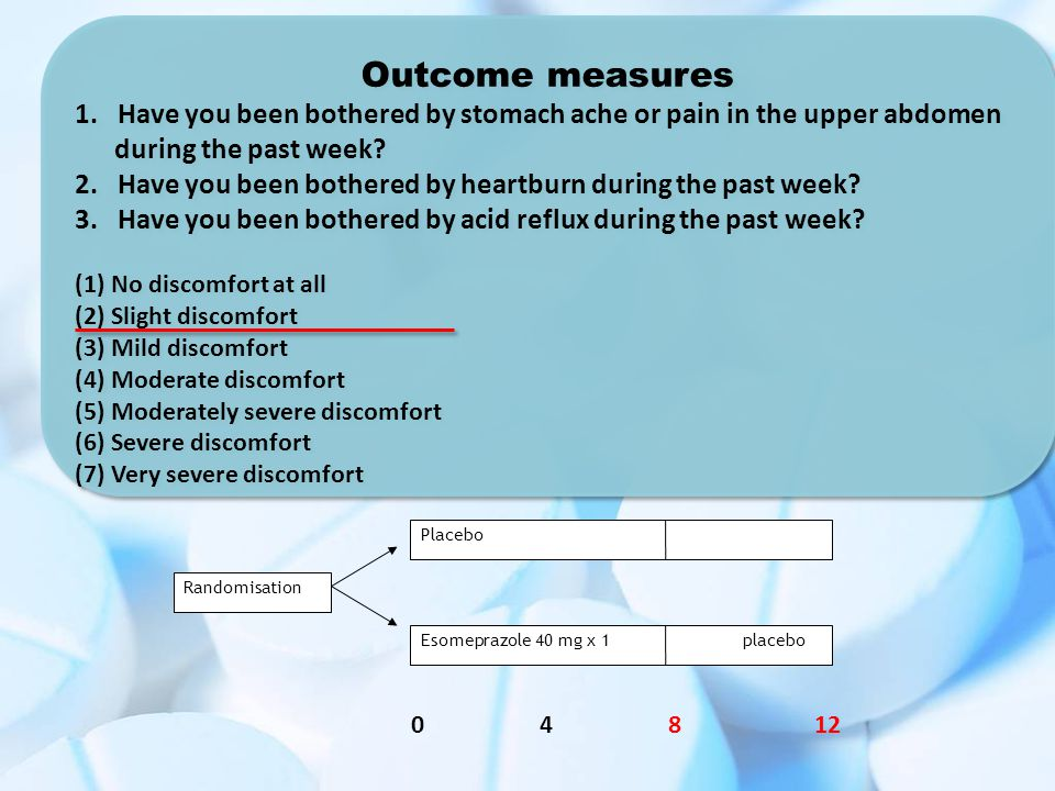 Outcome measures 1. Have you been bothered by stomach ache or pain in the upper abdomen during the past week