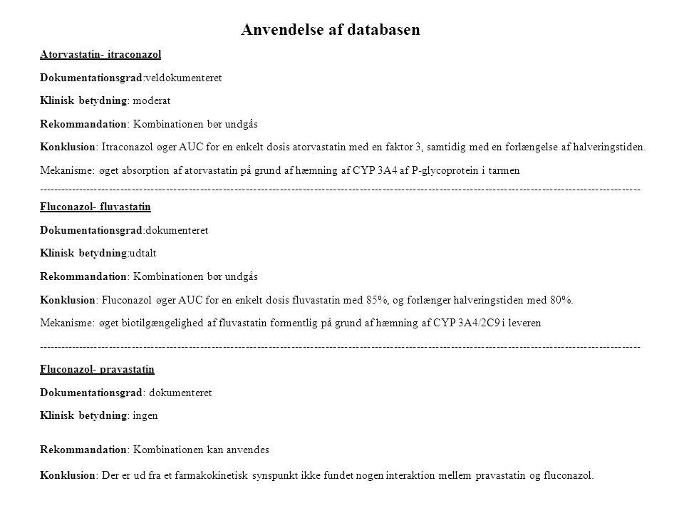 Anvendelse af databasen