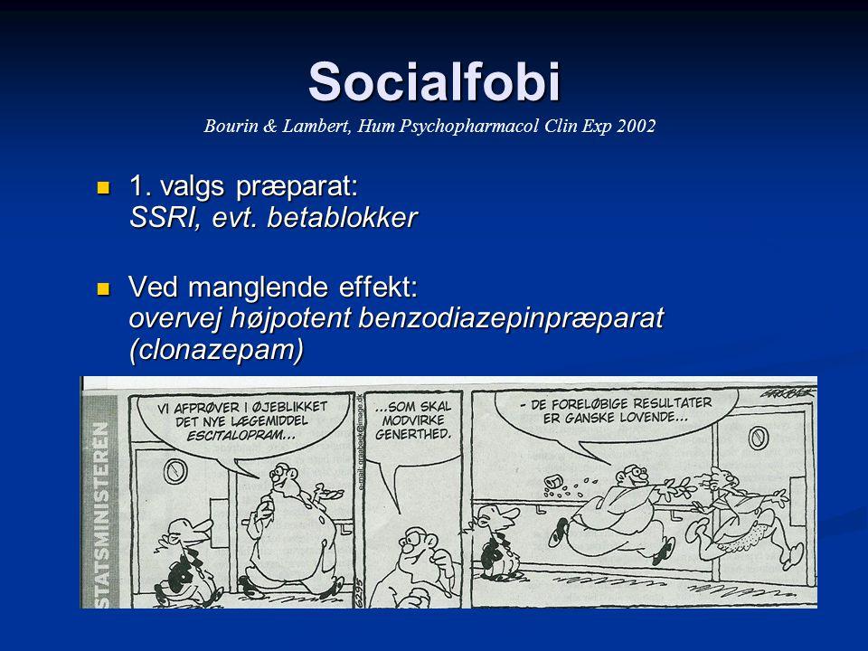 Socialfobi 1. valgs præparat: SSRI, evt. betablokker