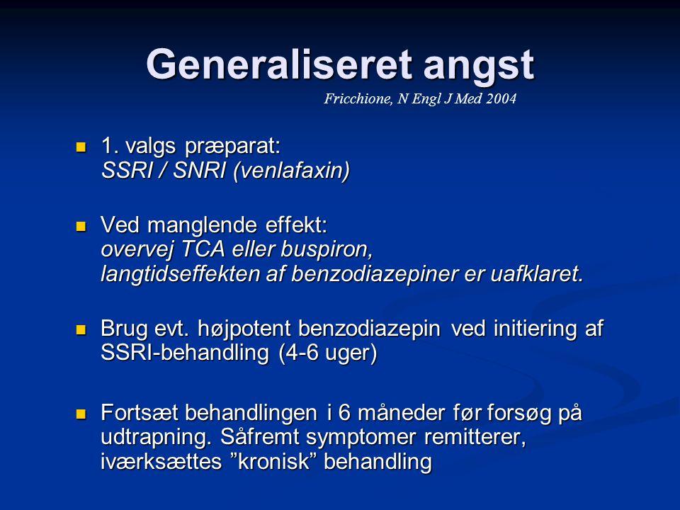 Generaliseret angst 1. valgs præparat: SSRI / SNRI (venlafaxin)