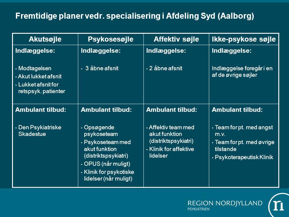Fremtidige planer vedr. specialisering i Afdeling Syd (Aalborg)