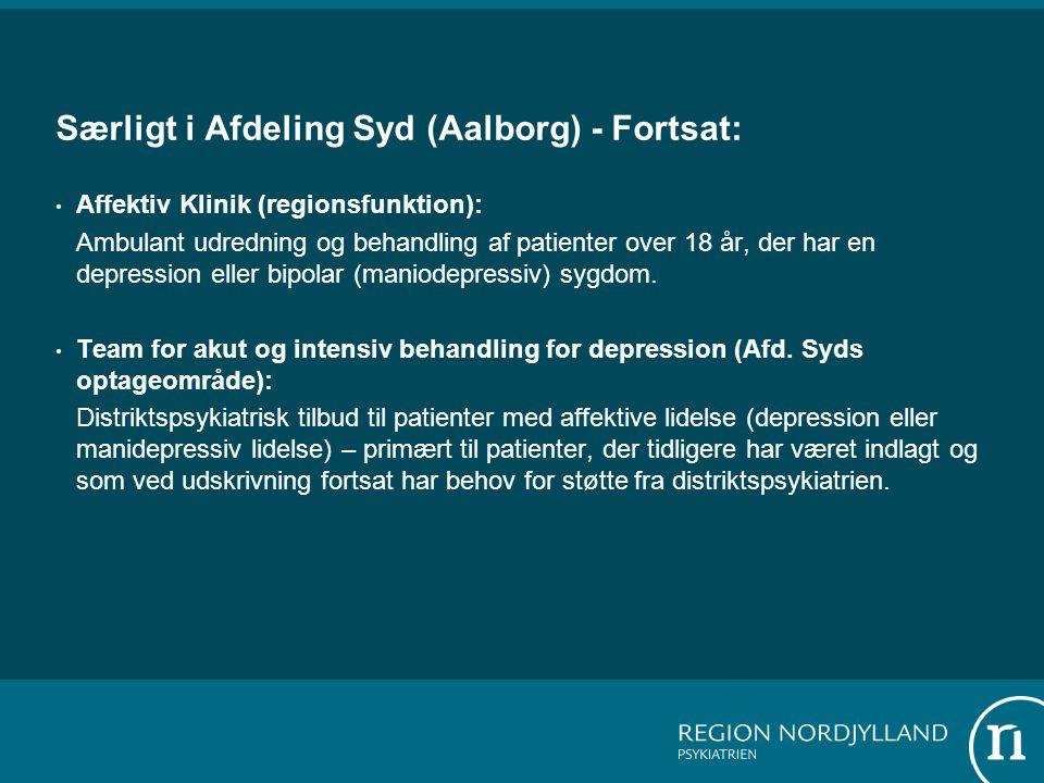 Særligt i Afdeling Syd (Aalborg) - Fortsat: