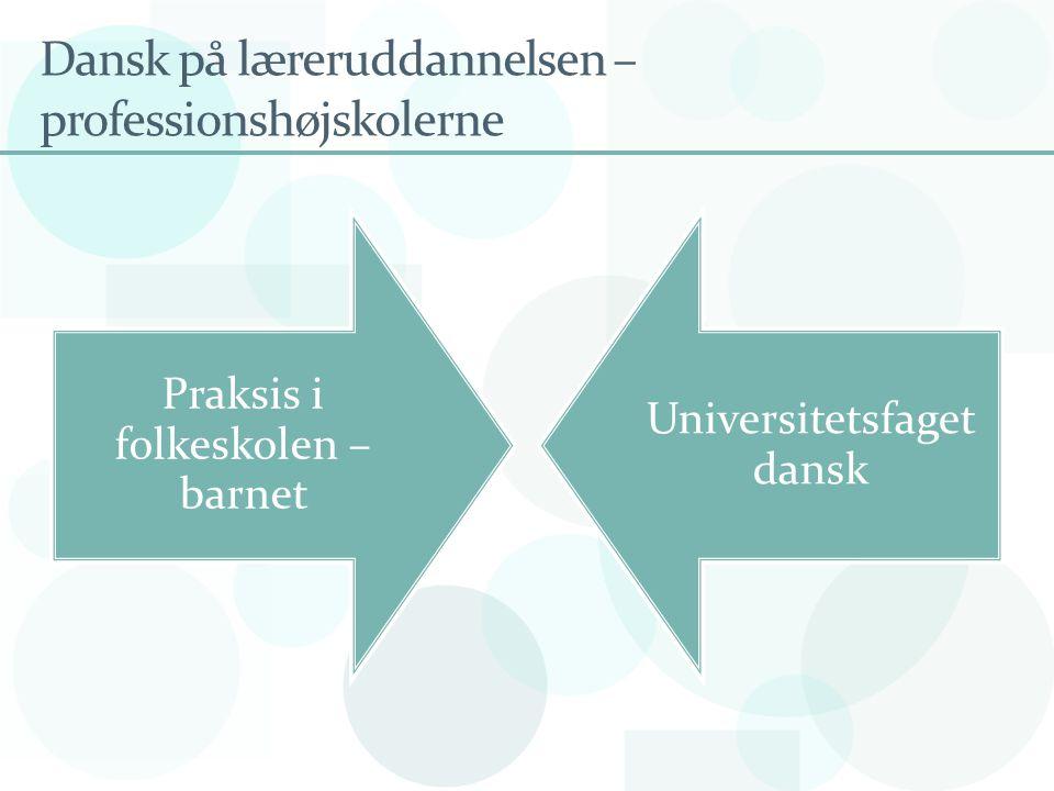 Dansk på læreruddannelsen – professionshøjskolerne