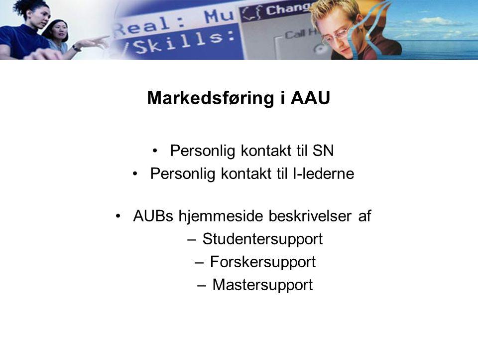 Markedsføring i AAU Personlig kontakt til SN