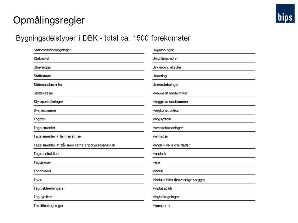 Opmålingsregler Bygningsdelstyper i DBK - total ca. 1500 forekomster