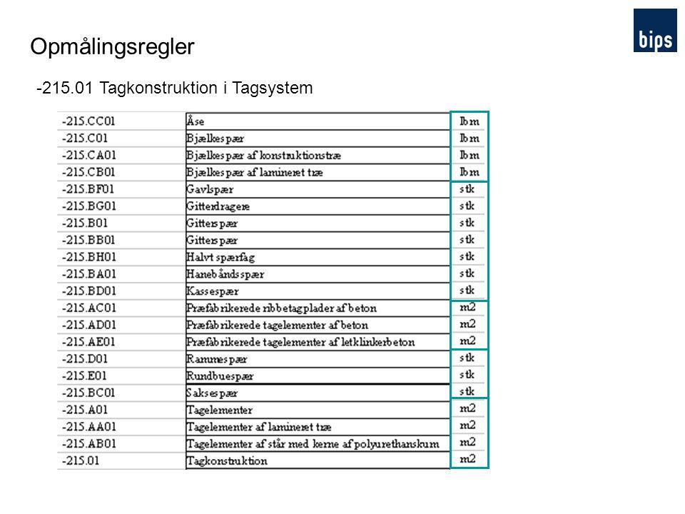 Opmålingsregler -215.01 Tagkonstruktion i Tagsystem Hvorfor ….
