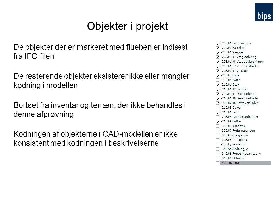 Objekter i projekt De objekter der er markeret med flueben er indlæst fra IFC-filen.
