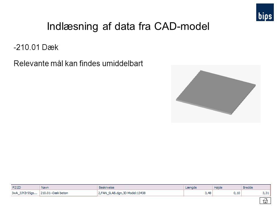 Indlæsning af data fra CAD-model
