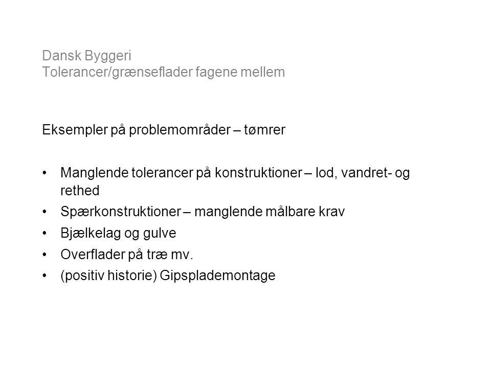 Dansk Byggeri Tolerancer/grænseflader fagene mellem