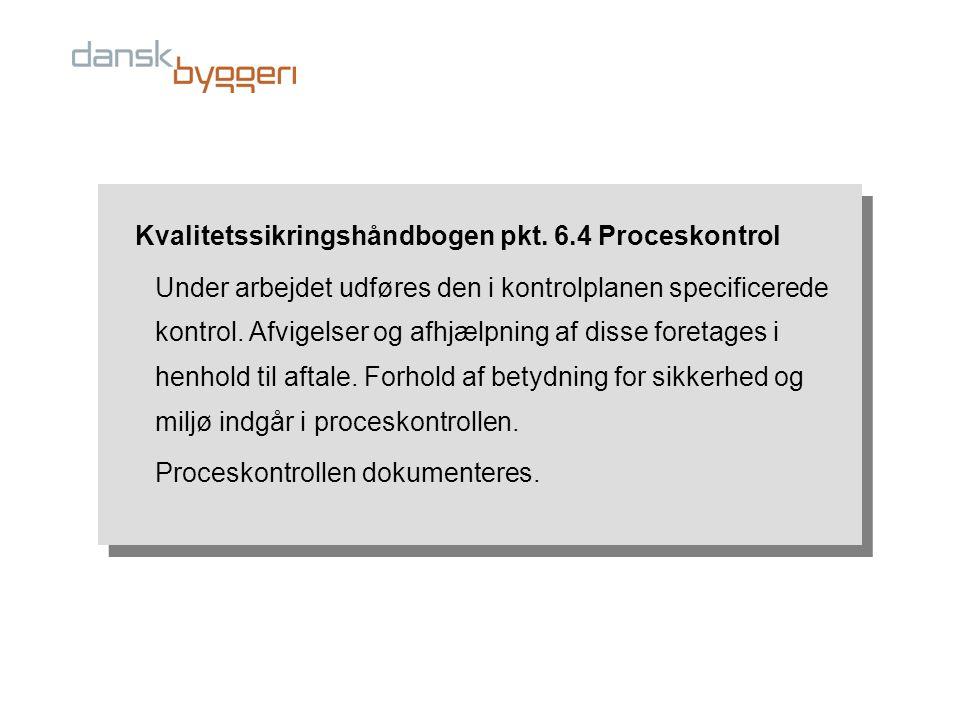Kvalitetssikringshåndbogen pkt. 6.4 Proceskontrol