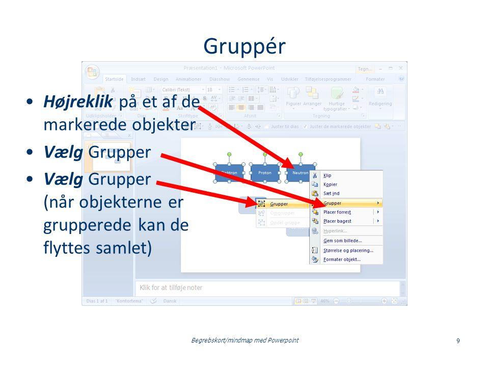 Begrebskort/mindmap med Powerpoint