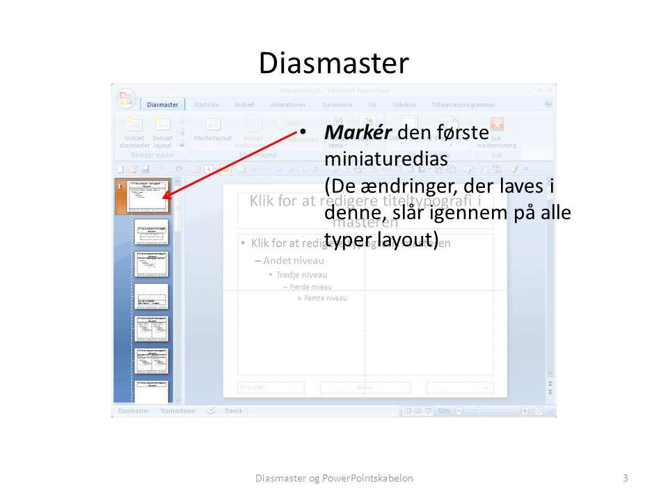 Diasmaster og PowerPointskabelon