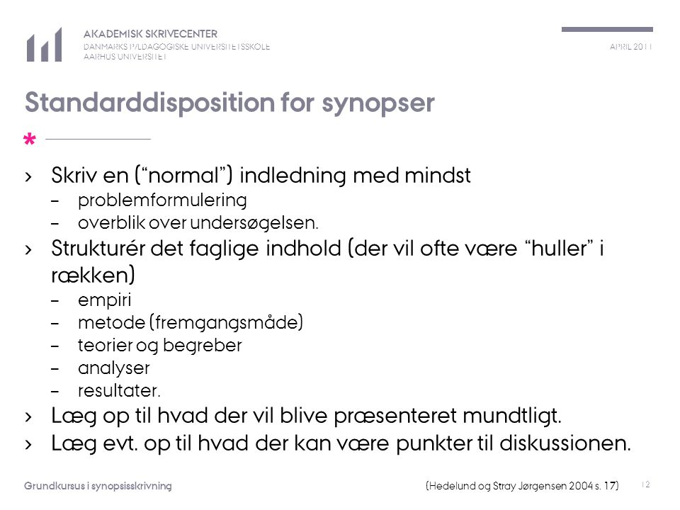 Standarddisposition for synopser