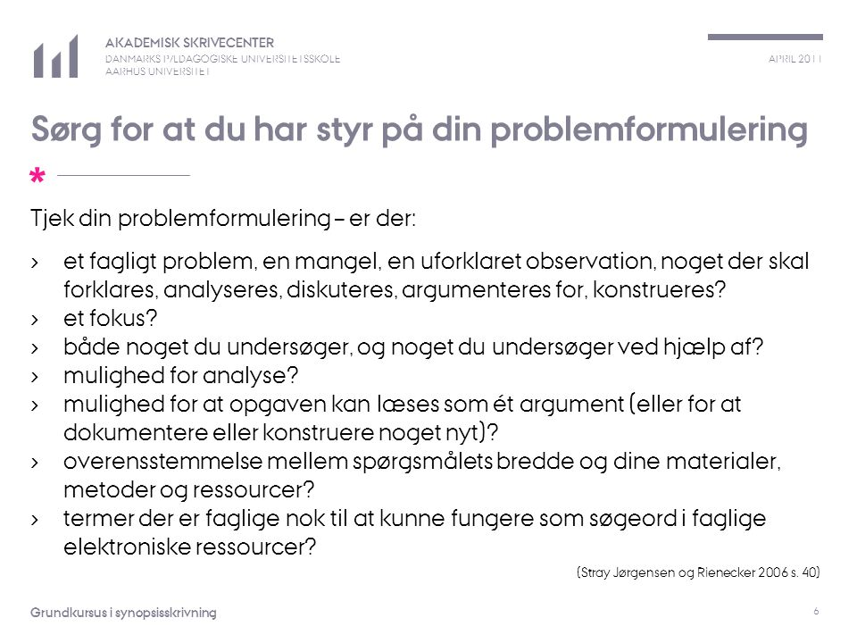 Sørg for at du har styr på din problemformulering