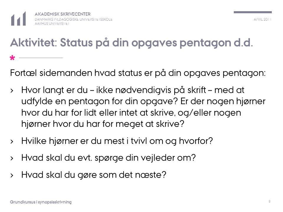 Aktivitet: Status på din opgaves pentagon d.d.