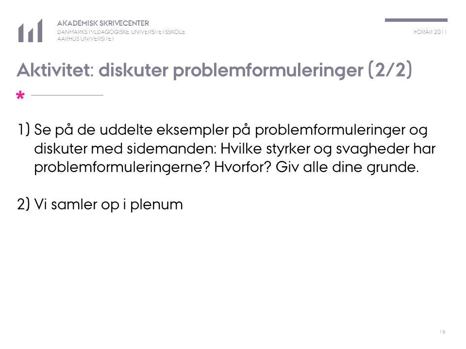 Aktivitet: diskuter problemformuleringer (2/2)