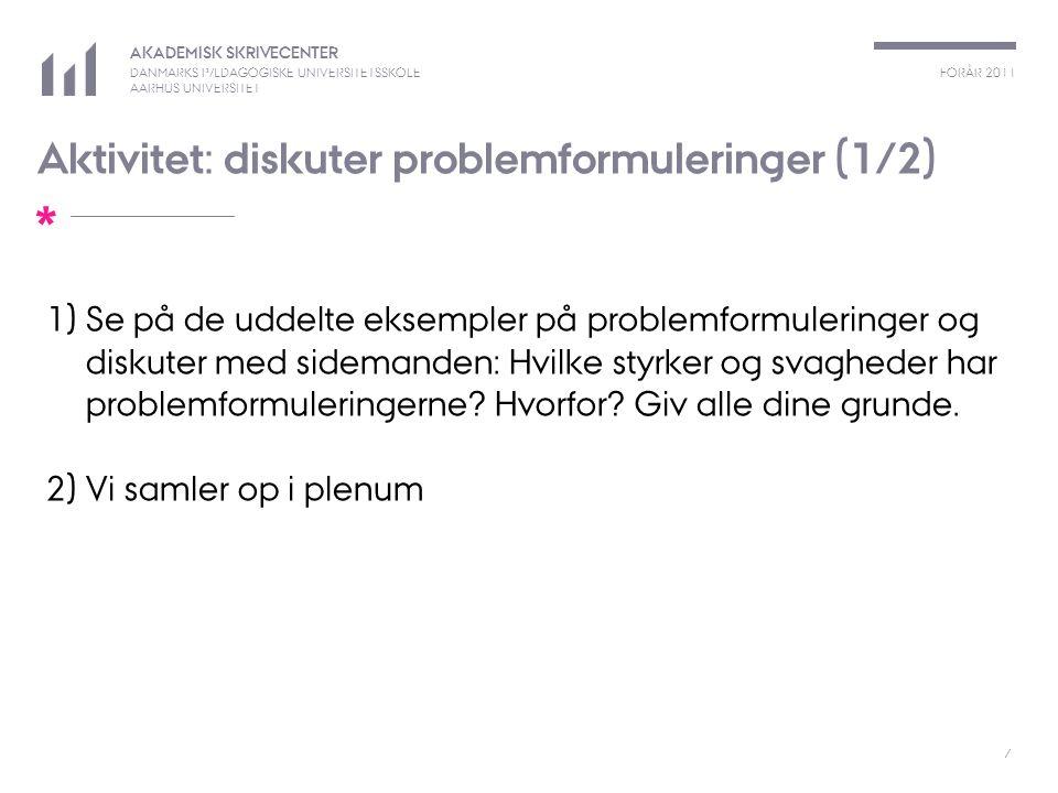 Aktivitet: diskuter problemformuleringer (1/2)