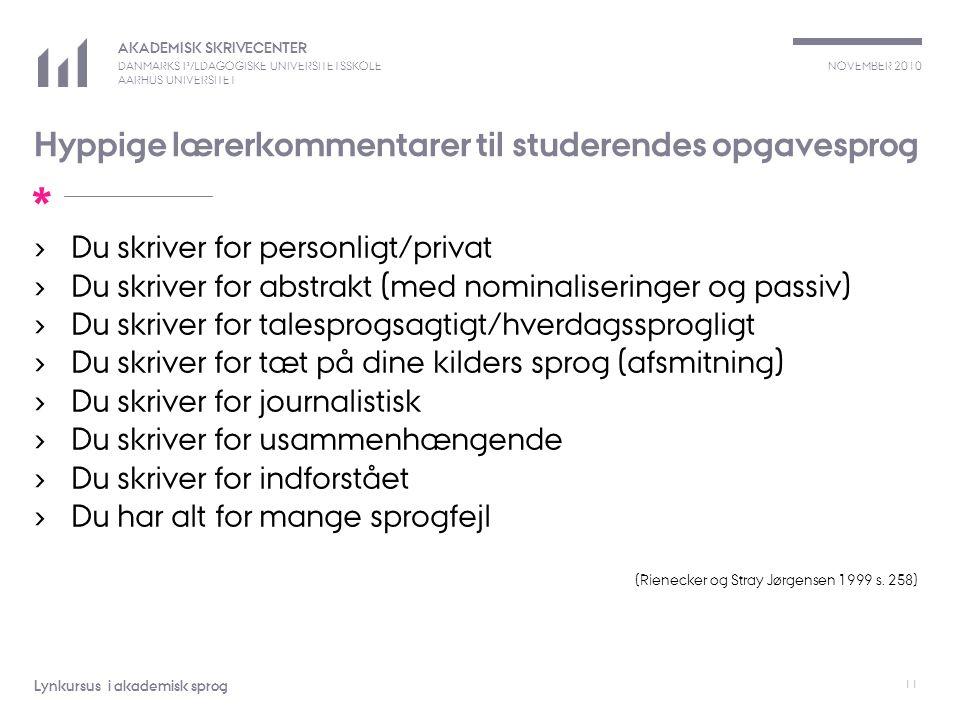 Hyppige lærerkommentarer til studerendes opgavesprog
